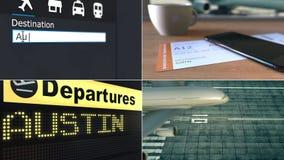 Flyg till Austin Resa till den begreppsmässiga montageanimeringen för Förenta staterna stock video
