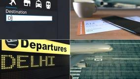 Flyg till Delhi Resa till Indien den begreppsmässiga montageanimeringen lager videofilmer