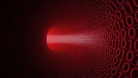 Flyg till och med den abstrakta röda tunnelen som göras med noll och en modern bakgrund Fara hot, överföring för binära data Arkivfoton