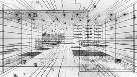 Flyg till och med den Digital kodströmmen svart white Kretsad animering 3D Begrepp för Digital teknologi HD 1080 vektor illustrationer