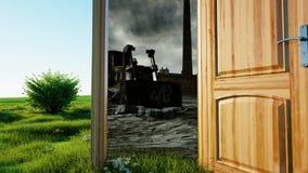 Flyg till och med en öppen dörr En portal mellan naturen och den ekologiska katastrofen, apokalyps Realistisk animering 4K royaltyfri illustrationer