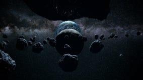 Flyg till och med meteoriter ett underbart solsken avstånd moon stock illustrationer