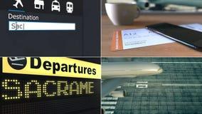 Flyg till Sacramento Resa till den begreppsmässiga montageanimeringen för Förenta staterna stock video