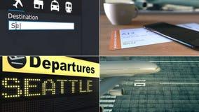 Flyg till Seattle Resa till den begreppsmässiga montageanimeringen för Förenta staterna arkivfilmer
