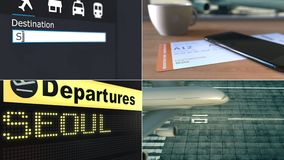 Flyg till Seoul Resa till Sydkorea den begreppsmässiga montageanimeringen lager videofilmer