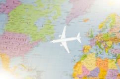 Flyg till USA den symboliska bilden av loppet förbi den plana översikten Fotografering för Bildbyråer