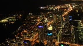 Flyg- timelapseplats av Toronto, Ontario natt 4K arkivfilmer