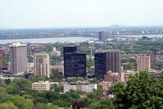 Flyg- utomhus- stads- sikt av den Montreal staden i Kanada Arkivbild