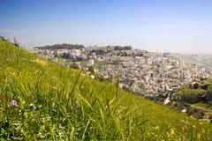 Flyg- vårsikt på Jerusalem från grön äng med ljus fl Arkivfoto