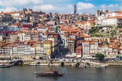 Flyg- v-iew av den historiska staden av Porto Fotografering för Bildbyråer