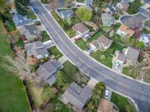 Flyg- veiw av den bostads- grannskapen Fotografering för Bildbyråer
