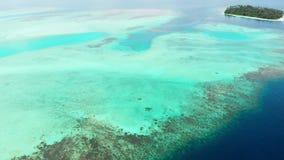 Flyg-: flyg ?ver reven f?r korall f?r vatten f?r turkos f?r karibiskt hav f?r strand f?r tropisk ? den vita Indonesien Sumatra Ba lager videofilmer
