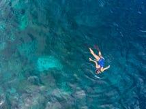 Flyg- ?verkant ner folk som snorklar p? det tropiska karibiska havet f?r korallrev, turkosbl?tt vatten Indonesien Wakatobi sk?rg? royaltyfri fotografi