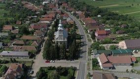 Flyg- video av en stad i Rumänien Satu Mare arkivfilmer