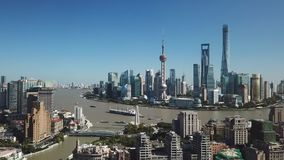 Flyg- video av Shanghai i dag stock video