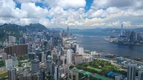 flyg- video för hyperlapse 4k av Victoria Harbour i Hong Kong arkivfilmer