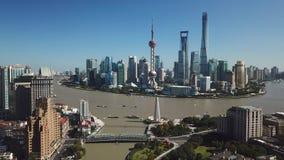 flyg- video 4k av Shanghai i dag arkivfilmer