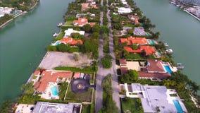 Flyg- videopd Allison Island Miami Beach 2 arkivfilmer