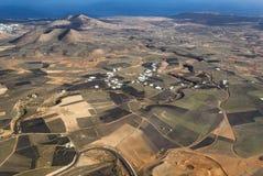flyg- wind för lanzarote växtström arkivbild