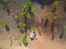 Flyga över berg och blottat skogområde Arkivbild