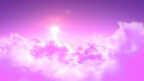Flyga över de magiska rosa färgmolnen royaltyfri illustrationer