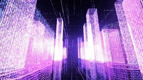 Flyga över den digitala staden i affärs- och telekommunikationinternetnätverk Loopable
