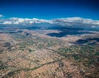 Flyga över den spanska staden av Zaragoza Spanien Royaltyfria Foton