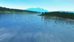 Flyga över en flod stock video