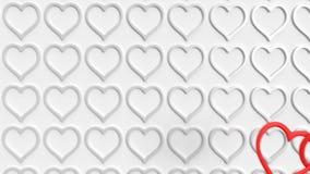 Flyga över hjärtor stock illustrationer