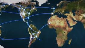 Flyga över jorden med blåa anslutningar vektor illustrationer