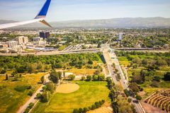 Flyga över San Jose Kalifornien royaltyfri foto
