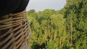 Flyga över skog på ballongen för varm luft stock video