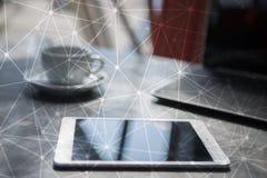 Flyga bakgrund för nätverkssfär 3D Affärsteknologi och internetbegrepp vektor illustrationer