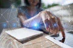 Flyga bakgrund för nätverkssfär 3D Affärsteknologi och internetbegrepp royaltyfri bild