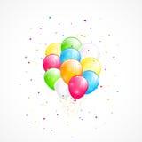 Flyga ballonger och konfettier Royaltyfri Foto