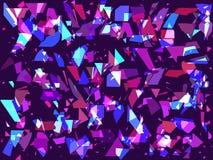 Flyga brutna partiklar på en mörk bakgrund Trianglar geometriska former Störning tekniskt felkonst vektor vektor illustrationer