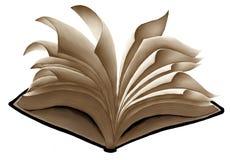 Flyga den öppna boken med att fladdra sidor Royaltyfria Bilder