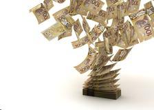 Flyga den kanadensiska dollaren stock illustrationer