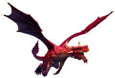 Flyga den röda illustrationen för drake 3D Arkivfoton