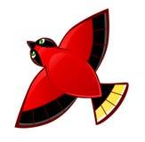 Flyga den röda fågeln Arkivfoto