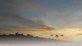 Flyga för Apache helikoptrar royaltyfri illustrationer