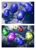 flyga för ballonger Arkivbilder