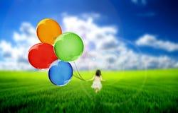 flyga för ballonger Royaltyfria Foton