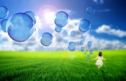 flyga för bubblor Arkivbilder