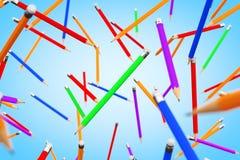 Flyga för många Multicolour blyertspennor framförande 3d vektor illustrationer