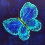 Flyga fjärilen i ljusa blått arkivfoton