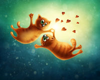 flyga för katter som är förälskat Arkivbild