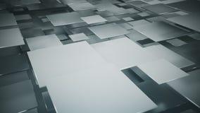 Flyga framför gråa fyrkanter abstrakt 3D Arkivfoto