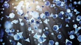 Flyga geometriska former Abstrakta 3d framför bakgrund Arkivbilder