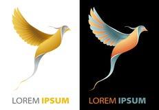 Flyga guld- fågelinfall, lyxigt företagslogobegrepp Arkivbilder